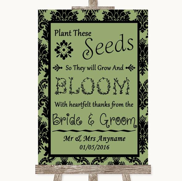 Sage Green Damask Plant Seeds Favours Personalised Wedding Sign