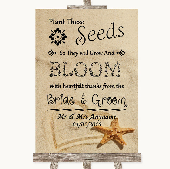 Sandy Beach Plant Seeds Favours Personalised Wedding Sign