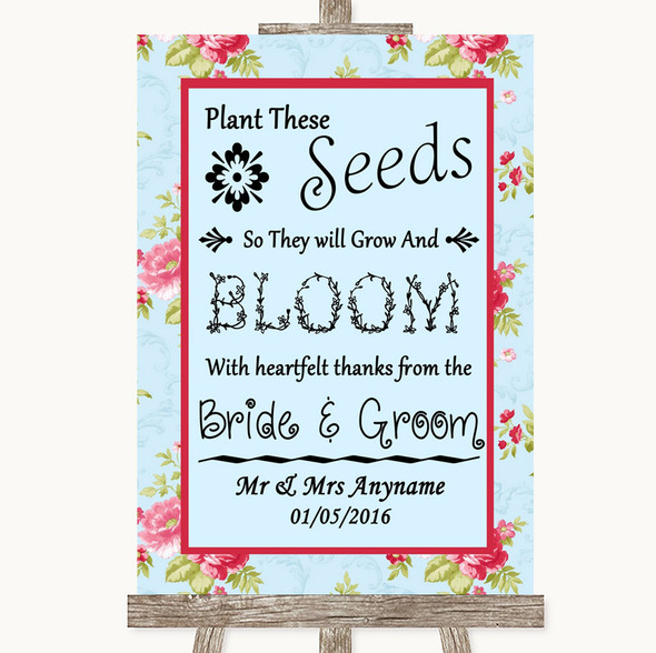 Shabby Chic Floral Plant Seeds Favours Personalised Wedding Sign