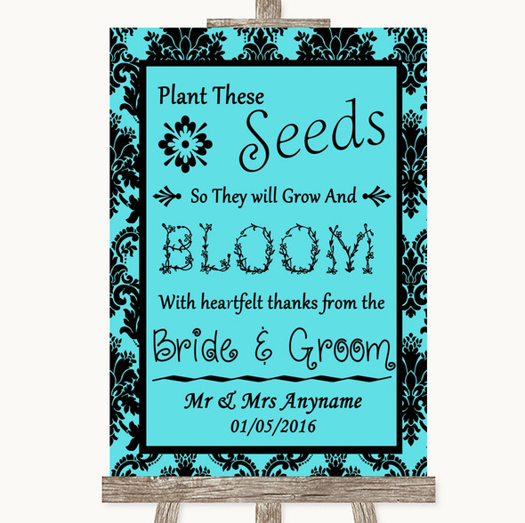 Tiffany Blue Damask Plant Seeds Favours Personalised Wedding Sign