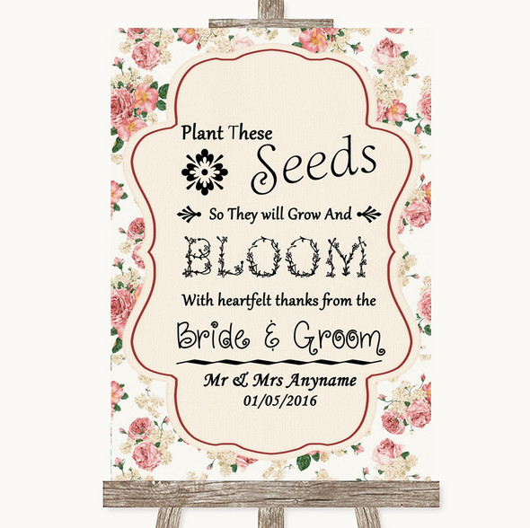 Vintage Roses Plant Seeds Favours Personalised Wedding Sign