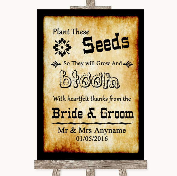 Western Plant Seeds Favours Personalised Wedding Sign