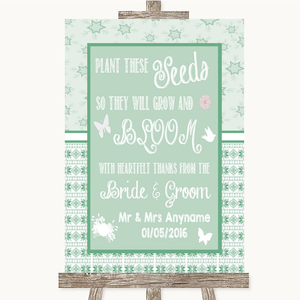 Winter Green Plant Seeds Favours Personalised Wedding Sign