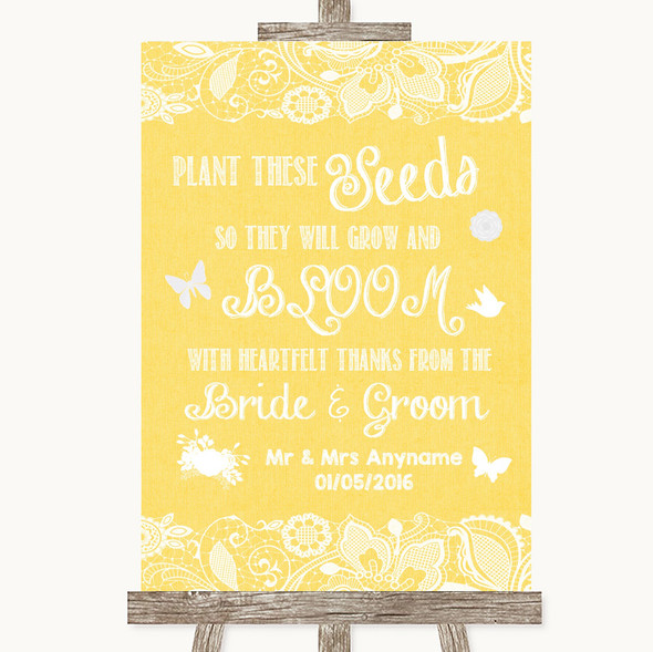 Yellow Burlap & Lace Plant Seeds Favours Personalised Wedding Sign
