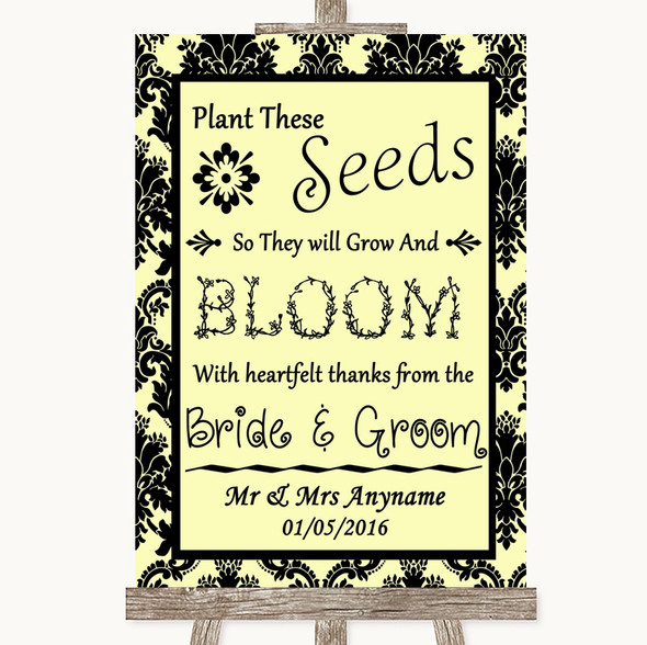 Yellow Damask Plant Seeds Favours Personalised Wedding Sign