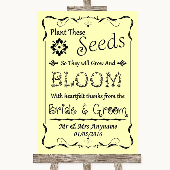 Yellow Plant Seeds Favours Personalised Wedding Sign