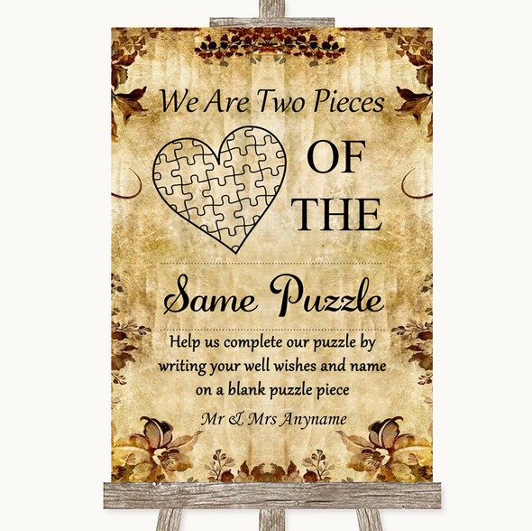 Autumn Vintage Puzzle Piece Guest Book Personalised Wedding Sign