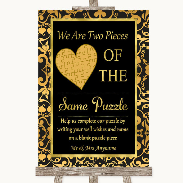 Black & Gold Damask Puzzle Piece Guest Book Personalised Wedding Sign