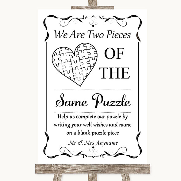 Black & White Puzzle Piece Guest Book Personalised Wedding Sign
