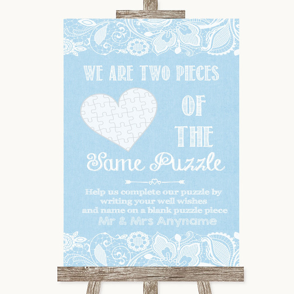 Blue Burlap & Lace Puzzle Piece Guest Book Personalised Wedding Sign
