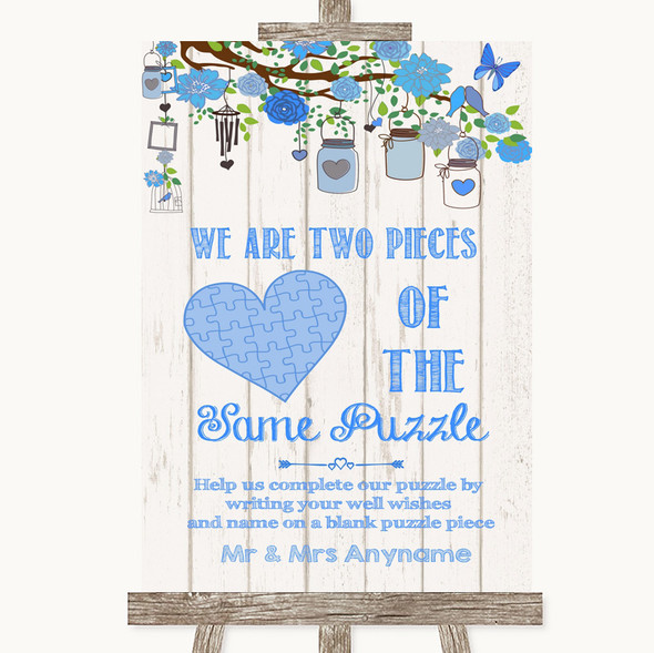 Blue Rustic Wood Puzzle Piece Guest Book Personalised Wedding Sign