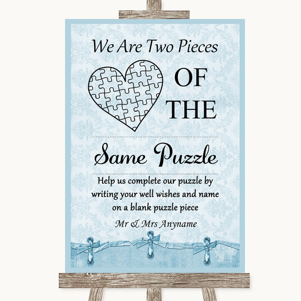 Blue Shabby Chic Puzzle Piece Guest Book Personalised Wedding Sign