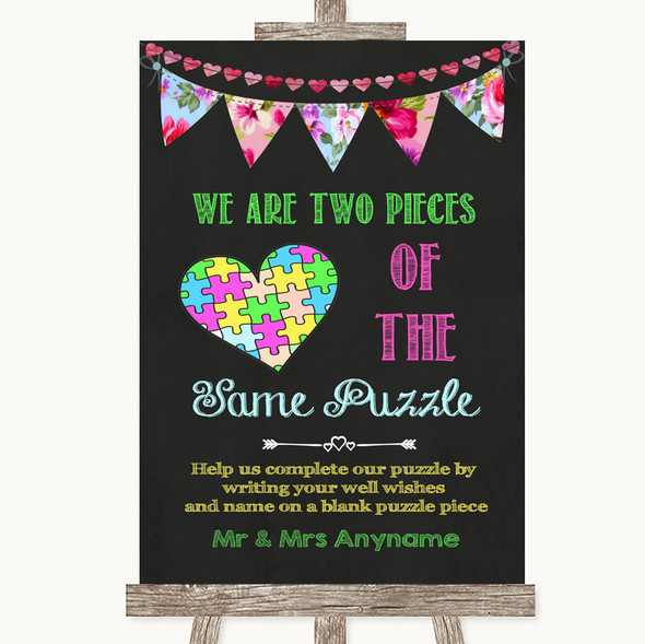 Bright Bunting Chalk Puzzle Piece Guest Book Personalised Wedding Sign