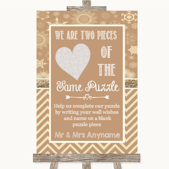 Brown Winter Puzzle Piece Guest Book Personalised Wedding Sign