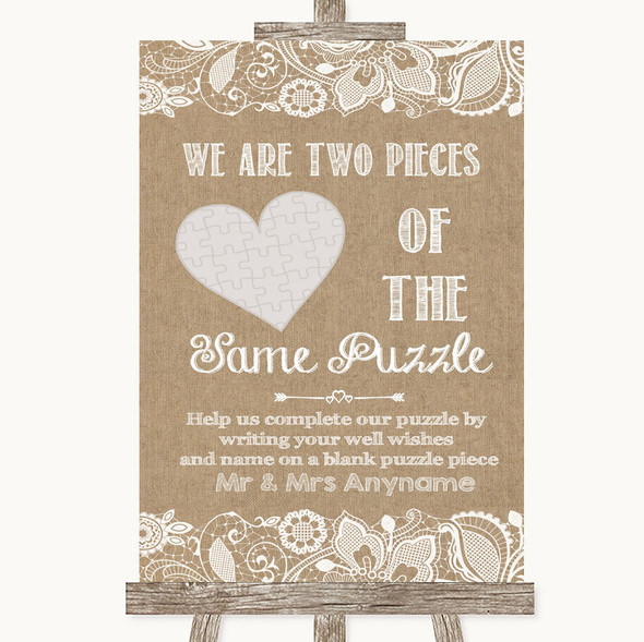 Burlap & Lace Puzzle Piece Guest Book Personalised Wedding Sign