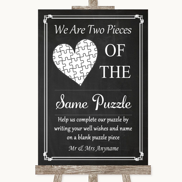 Chalk Style Puzzle Piece Guest Book Personalised Wedding Sign