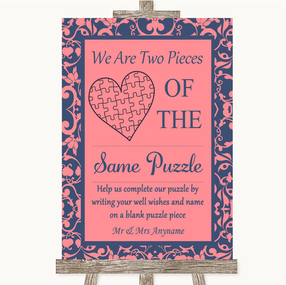Coral Pink & Blue Puzzle Piece Guest Book Personalised Wedding Sign