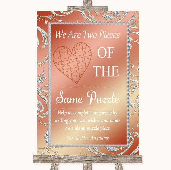 Coral Pink Puzzle Piece Guest Book Personalised Wedding Sign