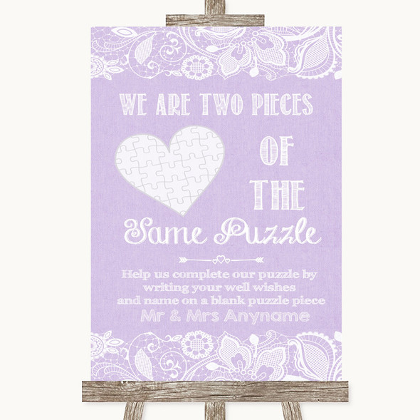 Lilac Burlap & Lace Puzzle Piece Guest Book Personalised Wedding Sign