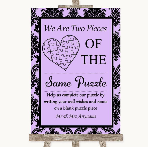 Lilac Damask Puzzle Piece Guest Book Personalised Wedding Sign