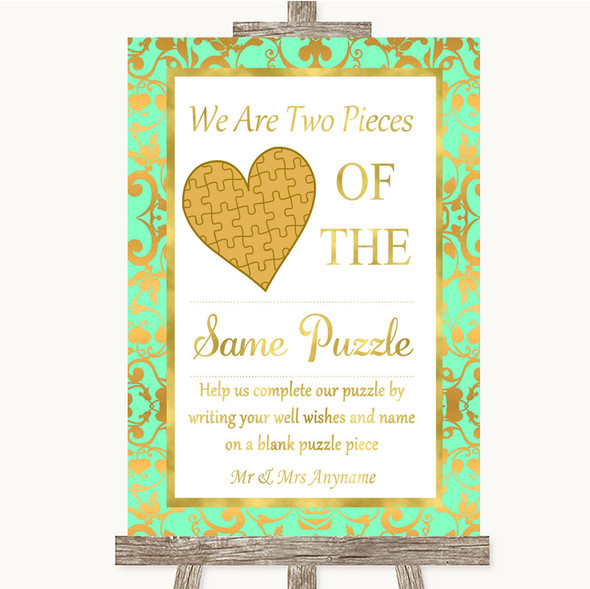 Mint Green & Gold Puzzle Piece Guest Book Personalised Wedding Sign