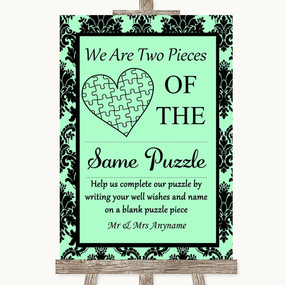 Mint Green Damask Puzzle Piece Guest Book Personalised Wedding Sign