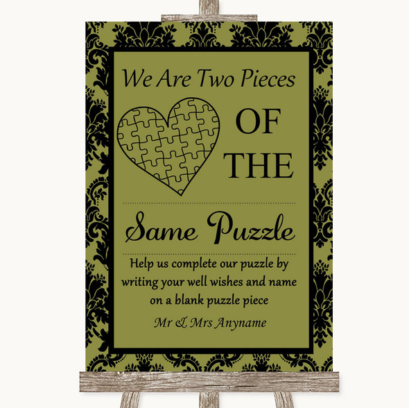 Olive Green Damask Puzzle Piece Guest Book Personalised Wedding Sign