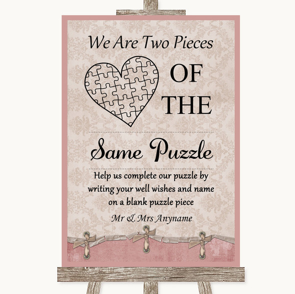 Pink Shabby Chic Puzzle Piece Guest Book Personalised Wedding Sign
