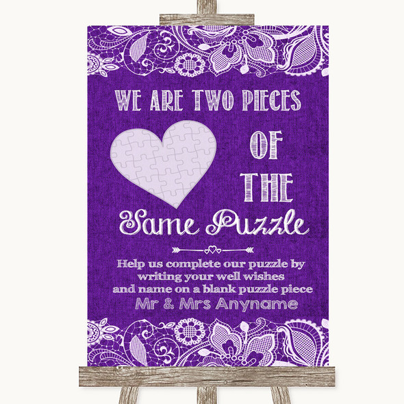 Purple Burlap & Lace Puzzle Piece Guest Book Personalised Wedding Sign