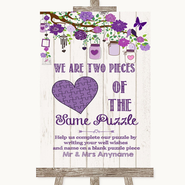 Purple Rustic Wood Puzzle Piece Guest Book Personalised Wedding Sign
