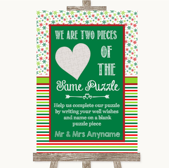 Red & Green Winter Puzzle Piece Guest Book Personalised Wedding Sign