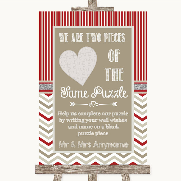 Red & Grey Winter Puzzle Piece Guest Book Personalised Wedding Sign
