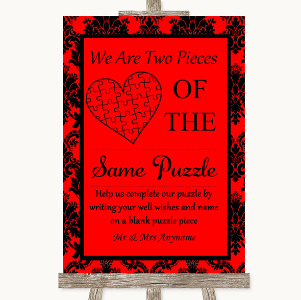 Red Damask Puzzle Piece Guest Book Personalised Wedding Sign