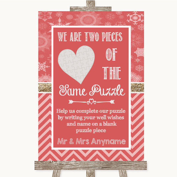 Red Winter Puzzle Piece Guest Book Personalised Wedding Sign