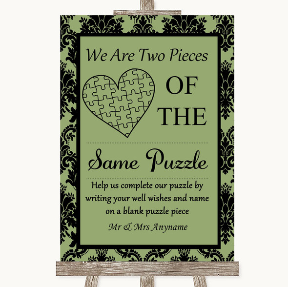 Sage Green Damask Puzzle Piece Guest Book Personalised Wedding Sign