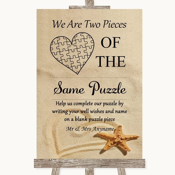 Sandy Beach Puzzle Piece Guest Book Personalised Wedding Sign
