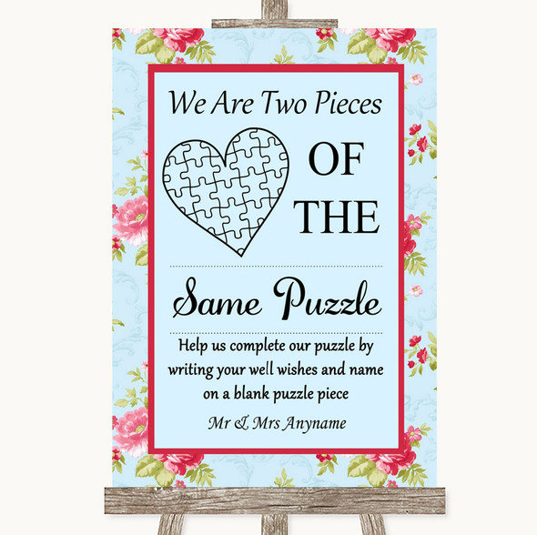 Shabby Chic Floral Puzzle Piece Guest Book Personalised Wedding Sign