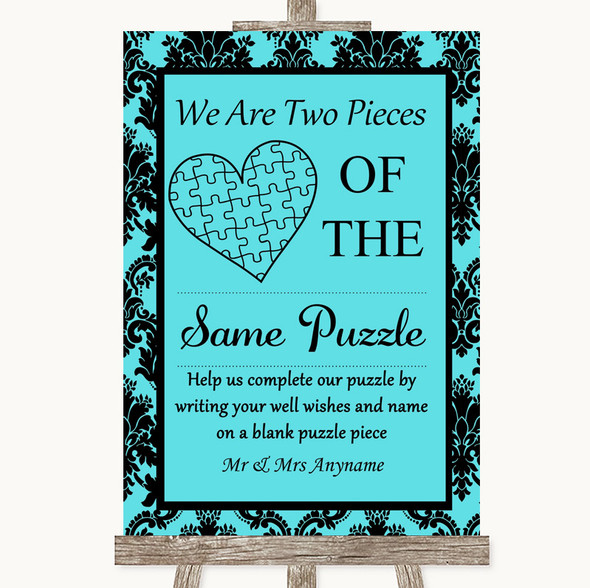 Tiffany Blue Damask Puzzle Piece Guest Book Personalised Wedding Sign