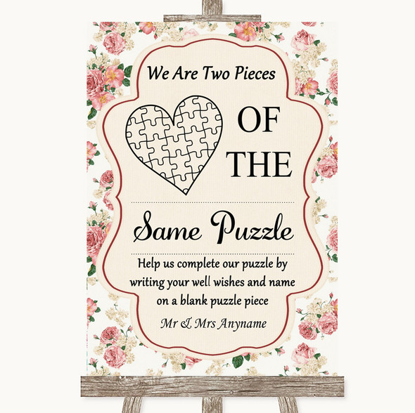 Vintage Roses Puzzle Piece Guest Book Personalised Wedding Sign