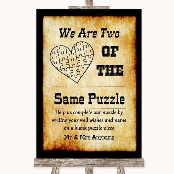 Western Puzzle Piece Guest Book Personalised Wedding Sign