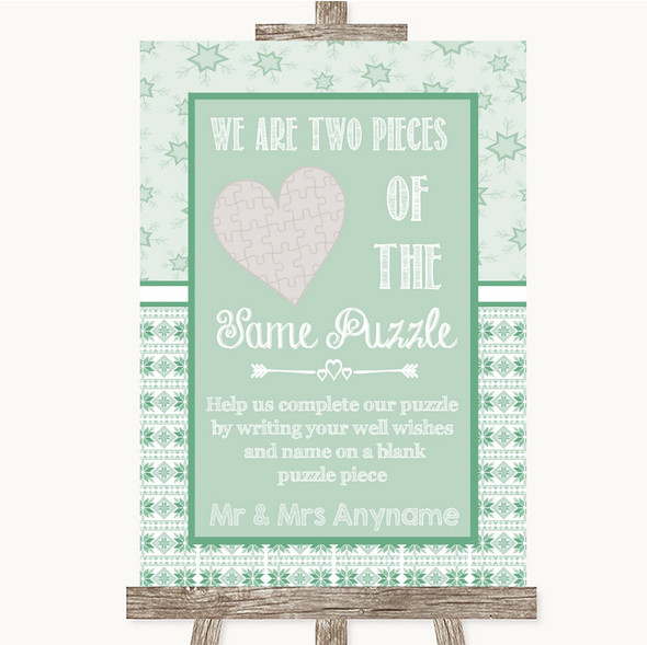 Winter Green Puzzle Piece Guest Book Personalised Wedding Sign