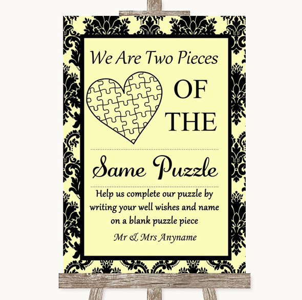 Yellow Damask Puzzle Piece Guest Book Personalised Wedding Sign