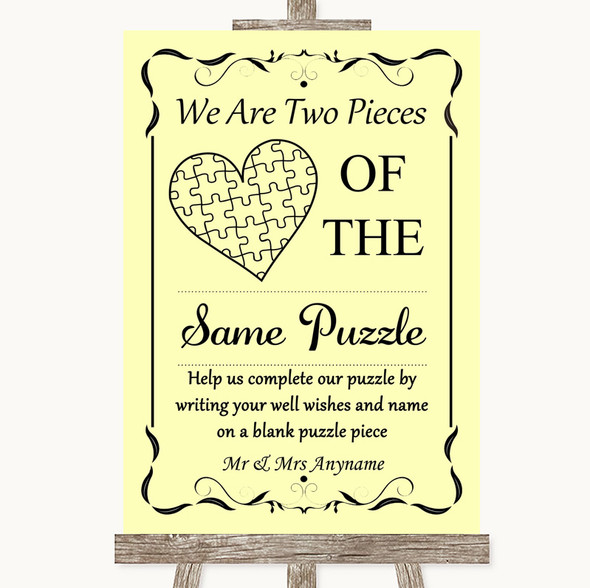 Yellow Puzzle Piece Guest Book Personalised Wedding Sign
