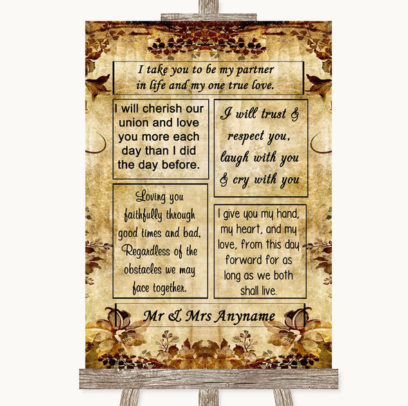 Autumn Vintage Romantic Vows Personalised Wedding Sign