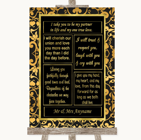 Black & Gold Damask Romantic Vows Personalised Wedding Sign