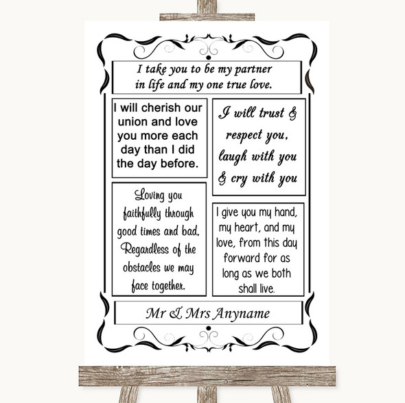 Black & White Romantic Vows Personalised Wedding Sign