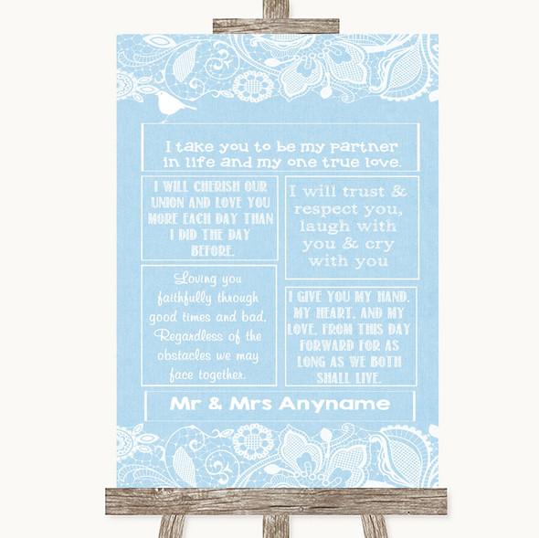 Blue Burlap & Lace Romantic Vows Personalised Wedding Sign
