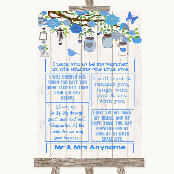 Blue Rustic Wood Romantic Vows Personalised Wedding Sign