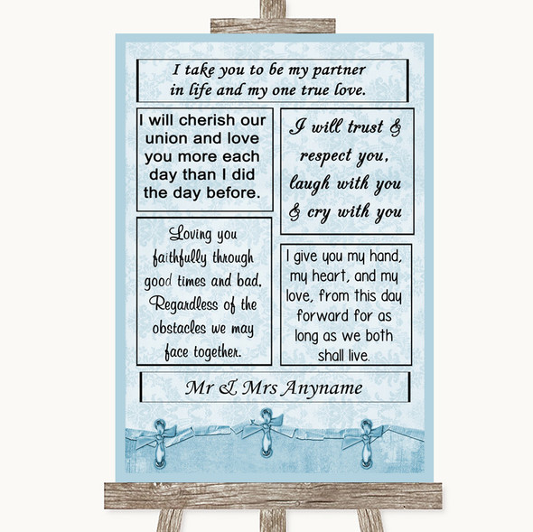 Blue Shabby Chic Romantic Vows Personalised Wedding Sign