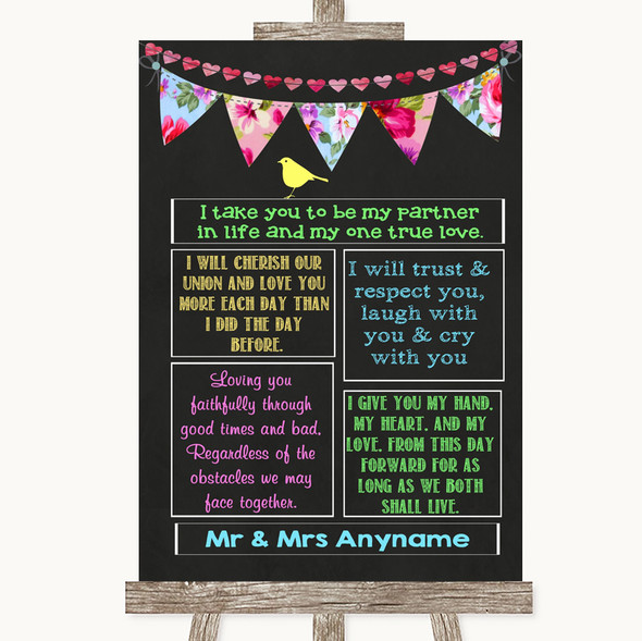 Bright Bunting Chalk Romantic Vows Personalised Wedding Sign